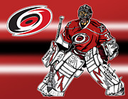 Hockey Mixed Media - Cam Ward - Carolina Hurricanes by Nate Gandt