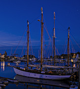 Schooner Prints - Camden Harbor Maine at 4AM Print by Marty Saccone