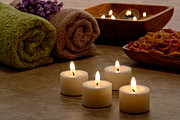 Treatment Metal Prints - Candles in a Spa Metal Print by Olivier Le Queinec