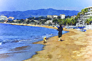 Old Town Digital Art Prints - Cannes Beach Run Print by Yury Malkov