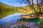 Tn River Prints - Canoe at the Lake Print by Debra and Dave Vanderlaan