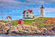 Clarence Holmes - Cape Neddick Nubble Lighthouse Impasto