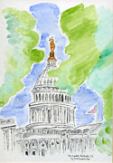 Washington Dc Drawings - Capitol Hill II by Eva Ason