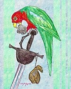 Parrot Art Mixed Media - Captain Flint the Parrot by William Depaula