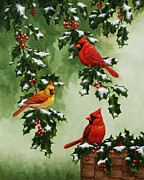 Bird Greeting Cards Prints - Cardinals and Holly - Version with Snow Print by Crista Forest