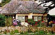Charming Cottage Digital Art Prints - Carmel English Cottage Print by Linda  Parker