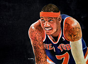 Knicks Drawings Framed Prints - Carmelo Anthony - New York Knicks Framed Print by Michael  Pattison