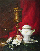 Carnations Paintings - Carnations and Sugar Bowl by  Gustave Barrier