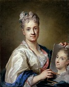 Self-portrait Photo Metal Prints - Carriera Rosalba, Self-portrait, 1715 Metal Print by Everett