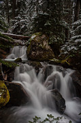 Stream Posters - Cascading Winter Scene Poster by Mike Reid