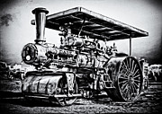 Greyhound Photos - CASE STEAM TRACTION ENGINE STEAM ROLLER B and W by F Leblanc