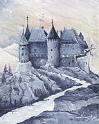 Monica Veraguth Framed Prints - Castle of the Carpathians Framed Print by Monica Veraguth