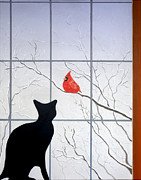 Freezing Mixed Media Prints - Cat and Cardinal Print by Karyn Robinson