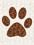 Cat Paw Digital Art Posters - Cat Paw Mosiac Poster by Kitty Bitty