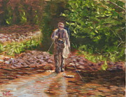 Fly Fisherman Paintings - Catch and Release by Will Germino