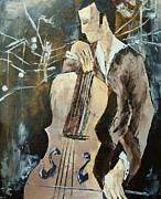 Lavander Paintings - Cellist In Sepia by Atelier De  Jiel