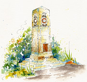 World War One Painting Prints - Cenotaph Clock Tower Print by Pat Katz
