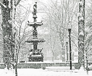 Snow Scenes Digital Art Metal Prints - Central Park Metal Print by Betty Smithhart