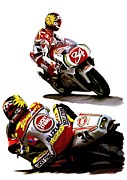 Main Street Drawings - Champion 34  Kevin Schwantz by Iconic Images Art Gallery David Pucciarelli