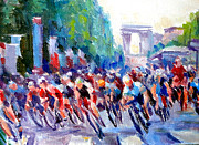 Cycling Art Paintings - Champs- Elysees by Mark Hartung