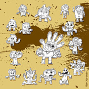 Dirty Prints - Character Doodles Urban Grunge Print by Frank Ramspott