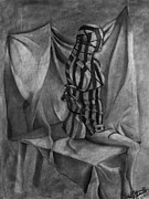 Prisoner Drawings Posters - Charcoal Convict Poster by Rebekah Kitzmiller