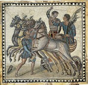 Auriga Prints - Chariot Race 3rd C.. Roman Art. Early Print by Everett