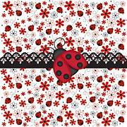 Buy Digital Art - Charming Ladybugs by Debra  Miller