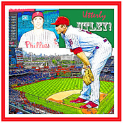 Philadelphia Phillies Stadium Digital Art Prints - Chase Utley Poster Utterly Utley Print by A Gurmankin