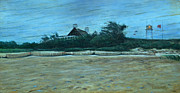 Storm Clouds Cape Cod Painting Originals - Chatham Lighthouse by Erik Schutzman