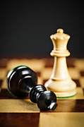 Pieces Metal Prints - Checkmate in chess Metal Print by Elena Elisseeva