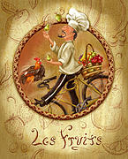 French Mixed Media Framed Prints - Chefs on Bikes-Les Fruits Framed Print by Shari Warren
