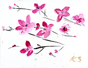 Pink Flower Branch Paintings - Cherry Blossoms by Katy  Scott