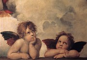 Christian Artwork Paintings - Cherubs on the Sistine Chapel by Raphael