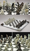 Game Sculptures - Chess Natural World vs Mechanical World by Gil Bruvel