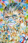 Chewbacca Framed Prints - CHEWBACCA watercolor portrait Framed Print by Fabrizio Cassetta