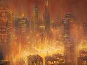 City At Night Paintings - Chicago Gold by Tom Shropshire