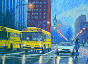 Traffic Pastels Posters - Chicago Rain Poster by Sarah Luginbill