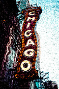 Treatment Metal Prints - Chicago Theatre Sign Digital Art Metal Print by Paul Velgos