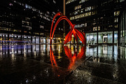 Alexander Calder Framed Prints - Chicagos Red Flamingo on a rainy night Framed Print by Sven Brogren