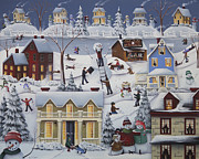 American Folk Art Prints - Chimney Smoke and Cheery Snow Folk Print by Catherine Holman