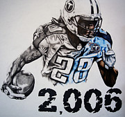 Tennessee Drawings - Chris Johnson by Jake Stapleton