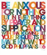 Bible Poster Paintings - Christian Art- Philippians 4 6 VerseVisions Wall Art Poster by Mark Lawrence