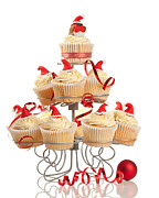 Iced Prints - Christmas Cupcakes On Stand Print by Christopher and Amanda Elwell