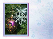 Snowflake Mixed Media Posters - Christmas Ornaments 3 Poster by Ellen Henneke