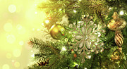 Backdrop Prints - Christmas tree decorations with sparkle background Print by Sandra Cunningham