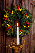 25th Posters - Christmas wreath and angel with candle Poster by Garry Gay