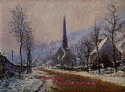 Precipitation Mixed Media Metal Prints - Church At Jeufosse Snowy Weather Restored Merry Christmas Metal Print by Claude Monet - L Brown