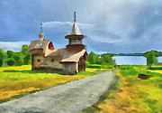 Siberia Digital Art - Church on the Road by Yury Malkov