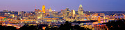 Cincinnati Cincinnati Reds Prints - Cincinnati Skyline at Dusk Sunset Color Panorama Ohio Print by Jon Holiday